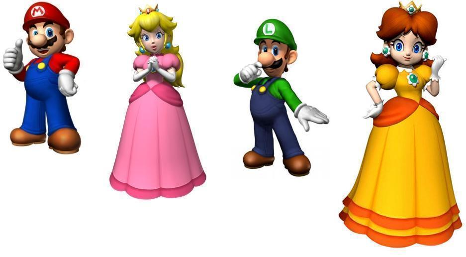 Mario, Luigi, pêssego and margarida