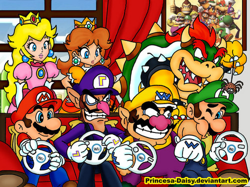 Super Mario Bros. wallpaper probably with anime entitled Mario kart wii boys time
