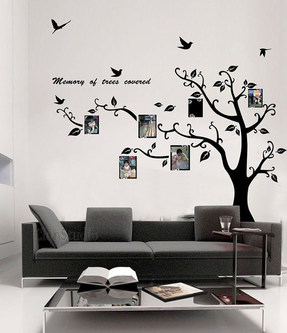 Wall Sticker For Home Decor : Memory of tree covered photo frame wall sticker home