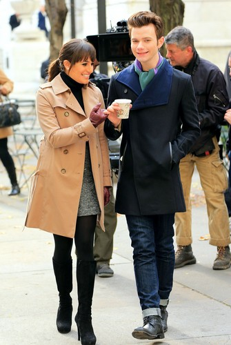 On Set Of glee in New York with Chris Colfer - November 18, 2012