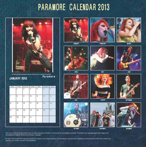 paramore Exclusive Unofficial 2013 Calendar