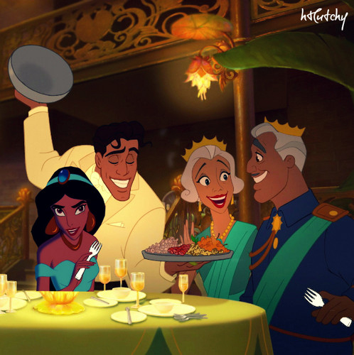 Disney crossover karatasi la kupamba ukuta probably with a brasserie, a chajio, chakula cha jioni table, and a bistro titled Part of the Family