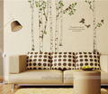 Peaceful Forest Birch Tree With Birds Wall Decals