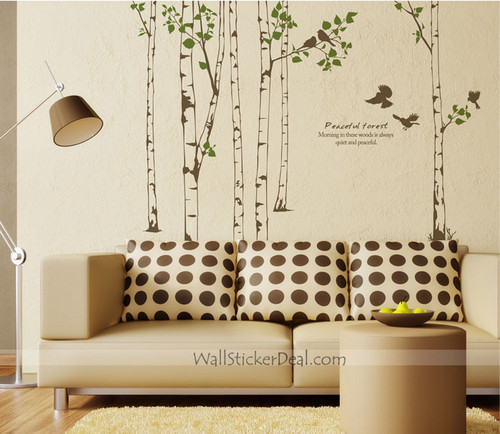 Peaceful Forest Birch 树 With Birds 墙 Decals