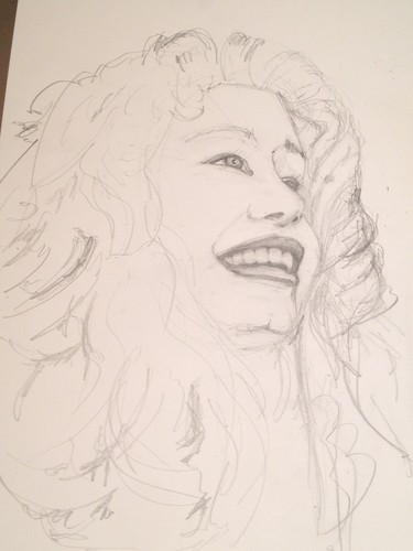Pencil drawing of the model for Merida