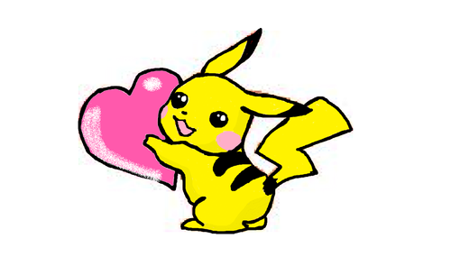 Pikach hugging a heart!