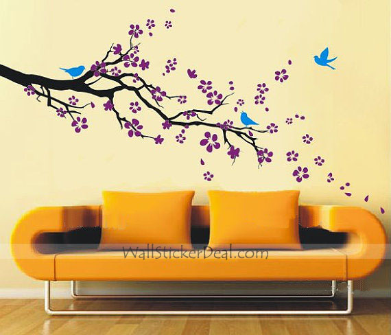 Wall Sticker For Home Decor : Plum blossom with birds wall sticker home decorating