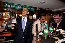President Obama Visiting A Local Pub In Ireland