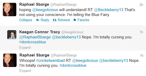 "Raphael Sbarge (Archie/Jiminy) & Keegan Connor Tracy (Blue Fairy) Tweet ""#cricketwentbad"""