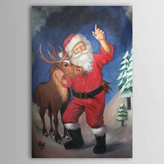 Fine Art Hintergrund with Anime entitled Santa Claus Oil Painting Free Shipping