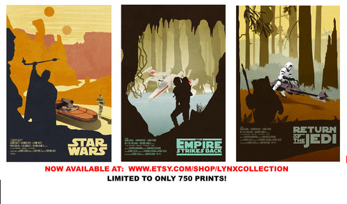 Star Wars Original Trilogy Limited Poster Set - available at www.etsy.com/shop/lynxcollection