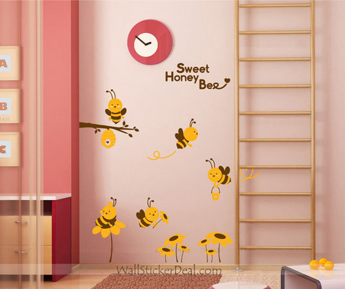 Sweet Honey Bee with Sunflower دیوار Decals