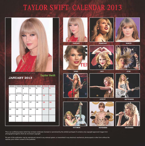 Taylor nhanh, swift Exclusive Unofficial 2013 Calendar