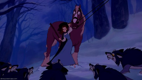 Beauty and the Beast wallpaper entitled The Wolves Attack scene