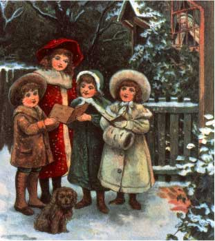 Christmas wallpaper probably with a fur coat called Victorian Carol Singers