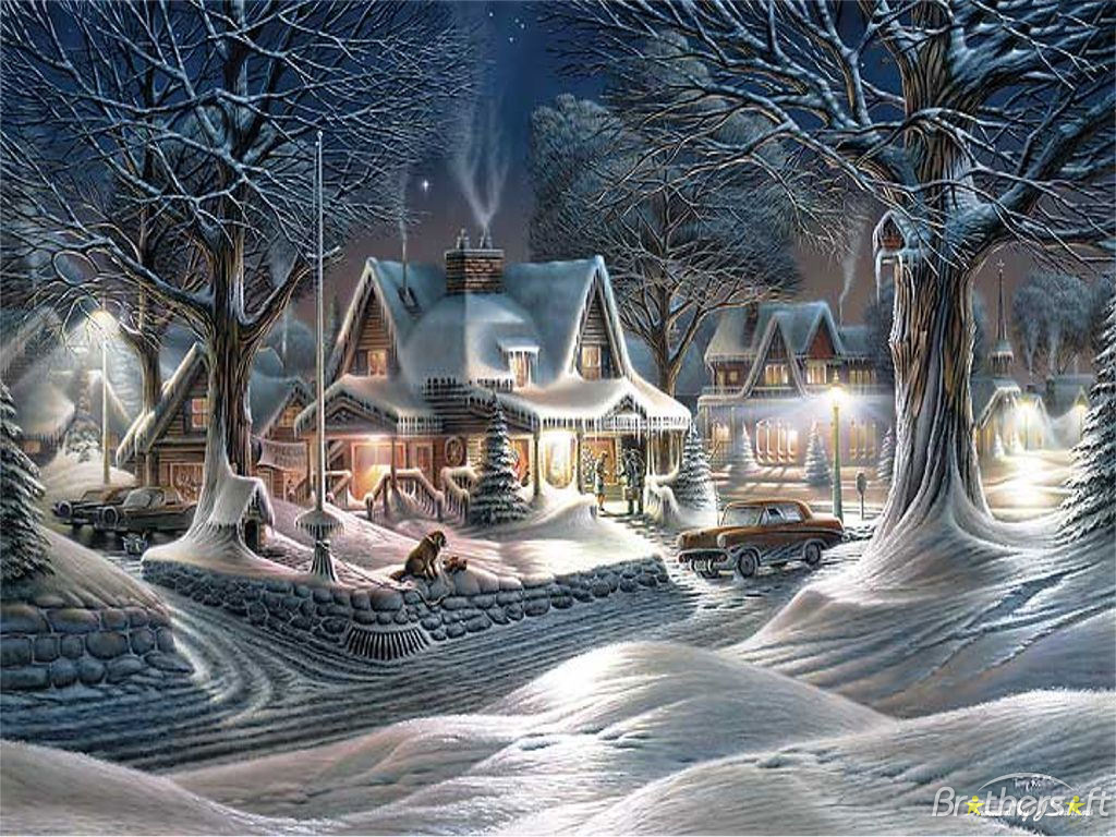 old fashioned christmas town wallpaper - photo #16