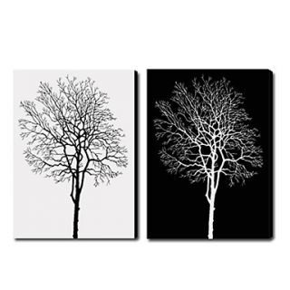 Fine Art Hintergrund possibly containing an indian hemp and a live oak titled White and Black Trees Oil Painting - Set of 2 - Free Shipping
