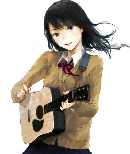 animé girl guitare