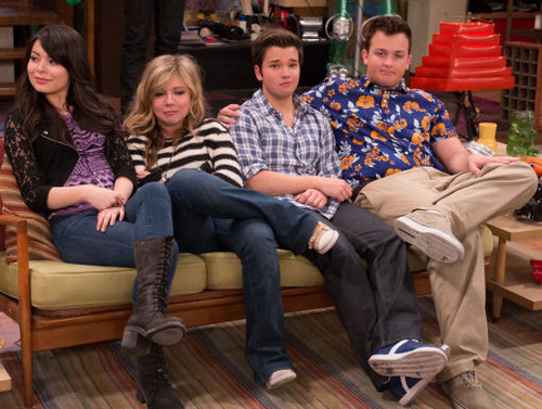 iCarly wolpeyper probably with a business suit, a couch, and a well dressed person titled iCarly iGoodbye Final Episode Pics