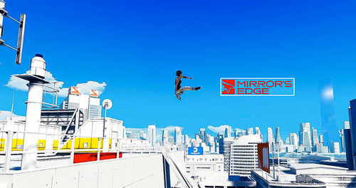 Mirror's Edge wallpaper containing a business district and a car ferry called leap of faith