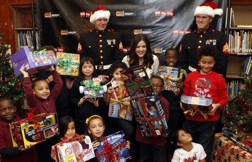 lucy hale from PLL spreads holyday cheer at duracell compaign kick off in new york city