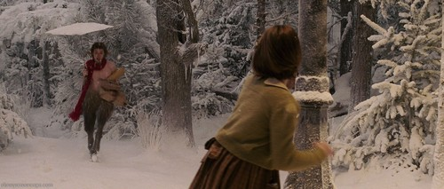 The Chronicles Of Narnia wallpaper probably with a fur coat called 15 Pictures of Lucy Pevensie and Mr. Tumnus