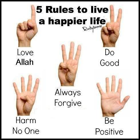 Islam wallpaper containing a portrait entitled 5 rules to live a happier life