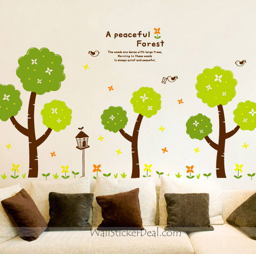 A Peaceful Forest pohon with bunga and Birds dinding Decals