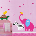A Small Animal Paradise Elephant Turtle Chicken and Zebra Wall Sticker - home-decorating photo