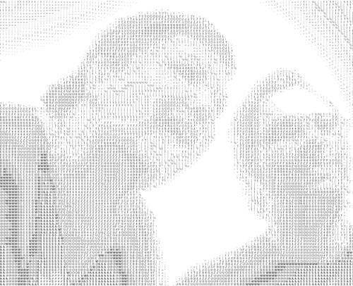 A couple ASCII People, from http://alignedleft.com/blog/2008/02/ascii-art-show-wrap-up/