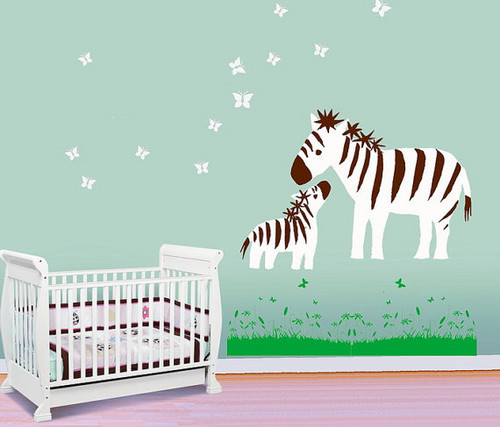 Baby zèbre, zebra and Mother Play with papillon mur Sticker