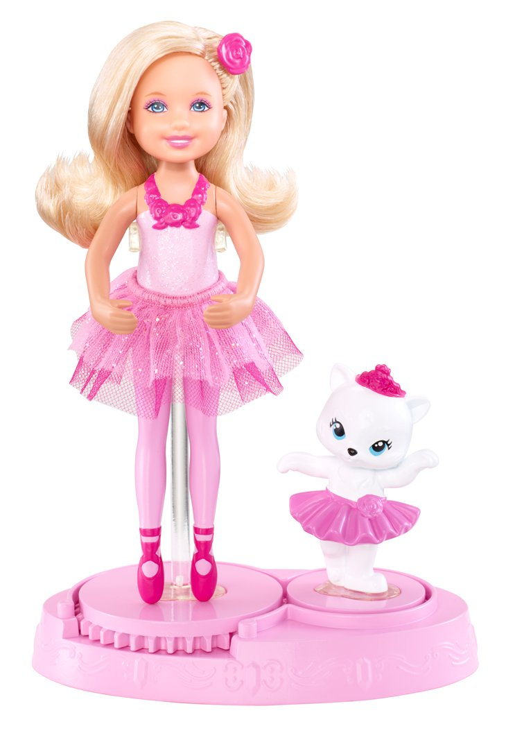 barbie in the rosado, rosa shoes rosado, rosa Chelsea Friend with kitten