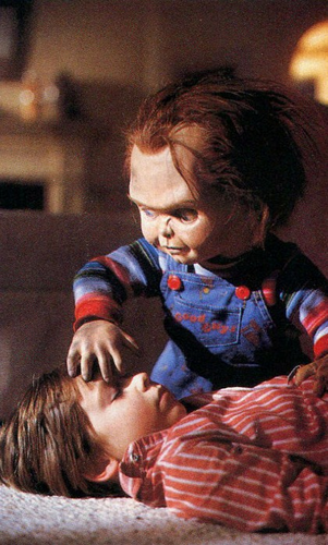Andy Barclay wallpaper probably containing a neonate titled Chucky + Andy