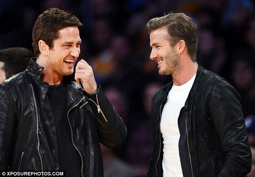 David Beckham and Gerard Butler at LA Lakers game
