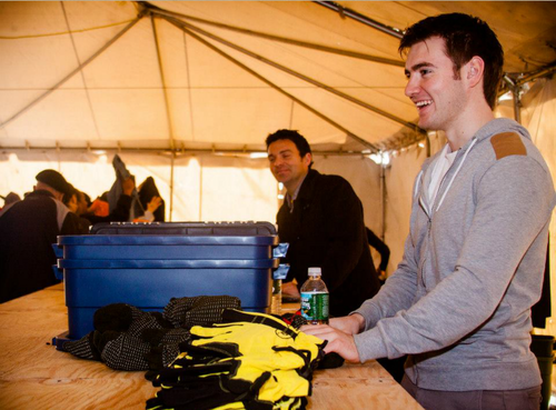 Emmet and Ryan helping Hurricane Sandy victims at Rockaway beach, pwani