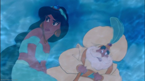 Aladdin wallpaper probably with a water and a bather called First scene of Princess Jasmine