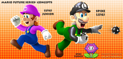 Super Mario Bros. wallpaper entitled Future Luigi and son