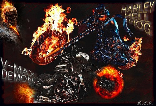 Ghost Rider wallpaper with a fire titled Ghost Rider Bikes