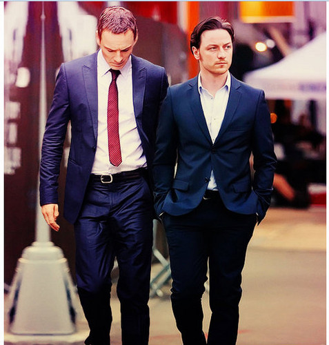 James McAvoy and Michael Fassbender वॉलपेपर containing a business suit, a suit, and a well dressed person titled James & Michael