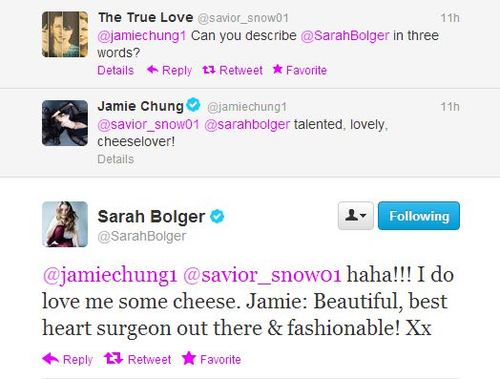 Once Upon A Time پیپر وال titled Jamie Chung (Aurora) & Sarah Bolger (Aurora) described each other: (Cheeselover&best hearth surgeon)