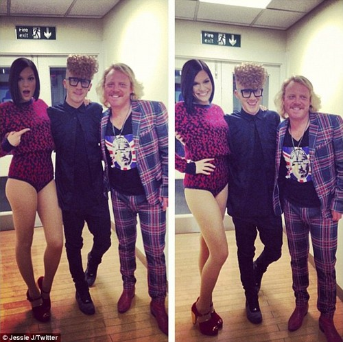 Jessie with Daley and Keith limón on set for appearence on Alan Carr mostrar