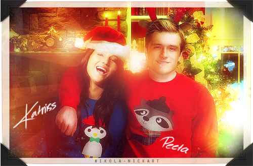 Peeta Mellark پیپر وال titled Katniss and Peeta Christmas