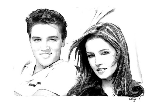 Elvis Aaron Presley and Lisa Marie Presley wallpaper containing a portrait called Lisa & Elvis ♥