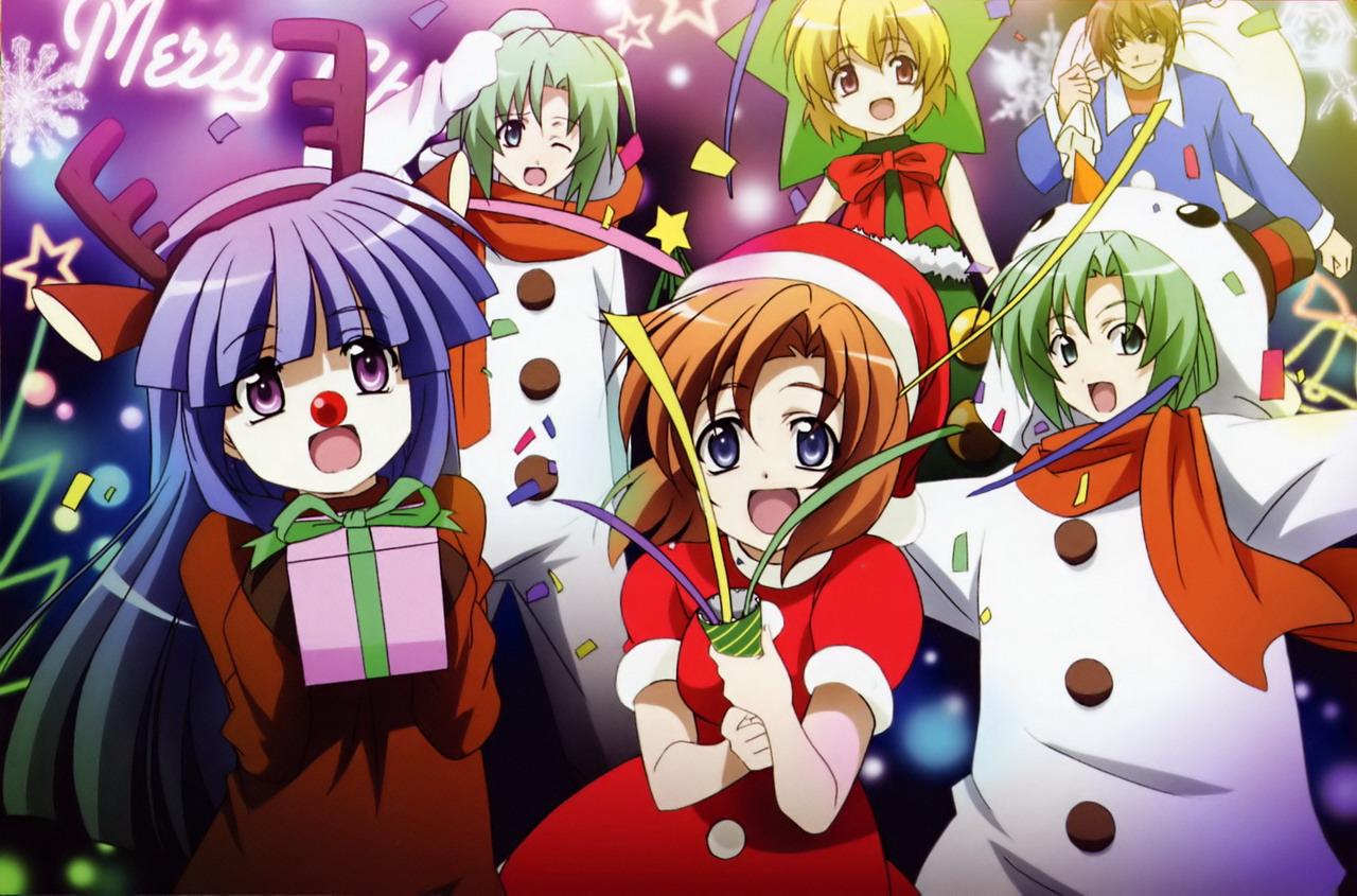 Anime Weihnachten Bilder.Higurashi No Naku Koro Ni Bilder Merry Weihnachten Hd Hintergrund
