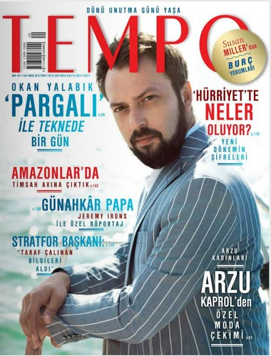 Turkish Actors and Actresses wallpaper titled Okan Yalabik on the cover of Turkish magazine Tempo