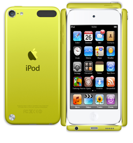 Paper Yellow ipod Touch