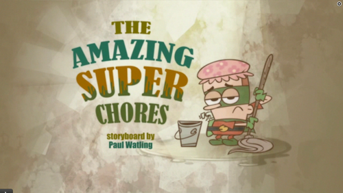 "Sidekick: ""The amazing Super Chores"" शीर्षक card"