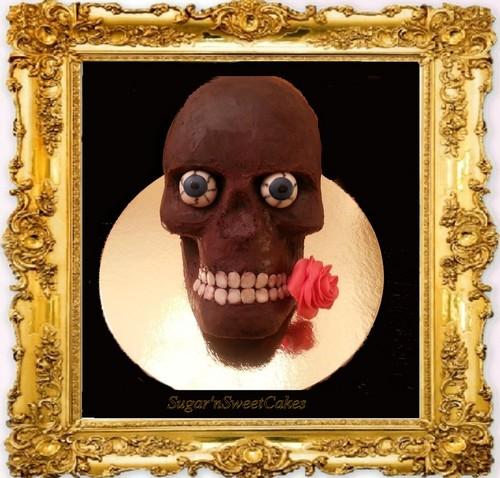 Skull cokelat Cake