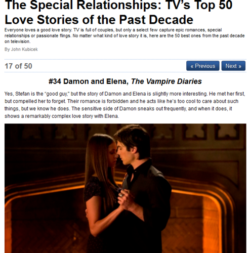 Damon & Elena fondo de pantalla titled The Special Relationships: TV's parte superior, arriba 50 amor Stories of the Past Decade