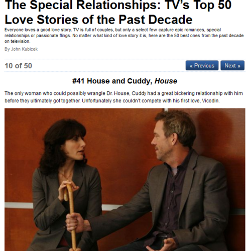 The Special Relationships: TV's superiore, in alto 50 Amore Stories of the Past Decade